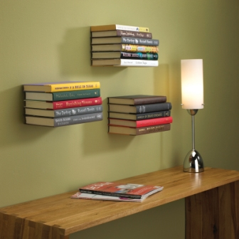 A Stack Of Books Enough To Cover L Bracket On Wall