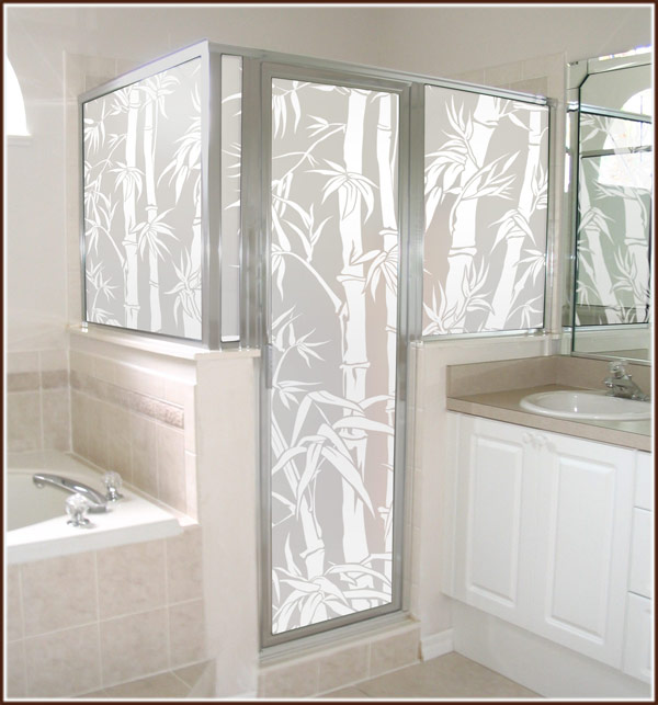 plain clear glass shower door and transform it into beautiful decor