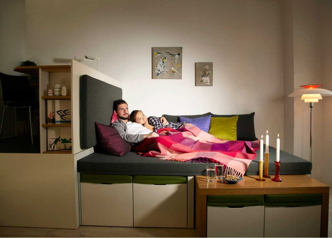 Transform The Living Room Into A Bedroom With Double Bed For A Comfy