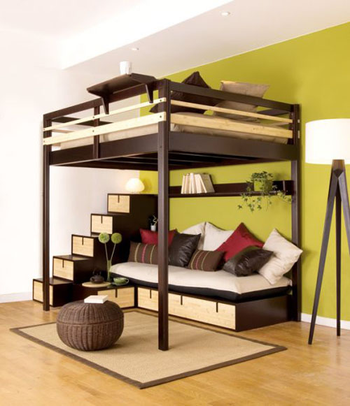 loft bed with futon underneath plans