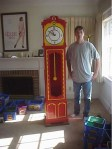 Eric Harshbarger with his clock