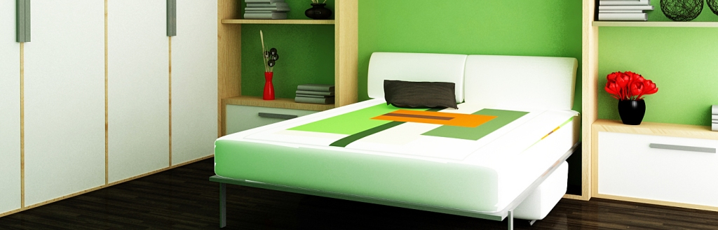 Modern green bedroom